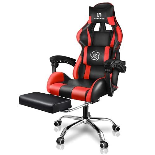 LUCKRACER Gaming Stuhl Massage mit Fußstütze Bürostuhl Massage Lendenkissen Drehstuhl Racing Armlehne PU Leder hohe Rückenlehne (rot)