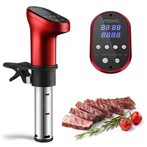 YISSVIC Sous Vide Stick 1200W Sous -Vide Garer 5-95°C Digital Timer LED Touch Anzeige für gesunde Ernährung, Rot (Verpackung MEHRWEG)