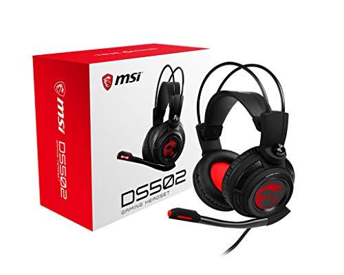 MSI DS502 GAMING Headset (Gaming Headset mit Vibrationssystem, kabelgebunden, 40 mm Neodym Driver, 20 Hz - 20 Khz, USB 2.0, schwarz, 405 Gramm, kein RGB)