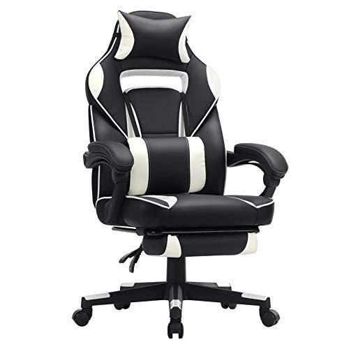 SONGMICS Gamingstuhl, Schreibtischstuhl mit Fußstütze, Bürostuhl mit Kopfstütze und Lendenkissen, höhenverstellbar, ergonomisch, 90-135° Neigungswinkel, bis 150 kg belastbar, schwarz-weiß OBG73BW