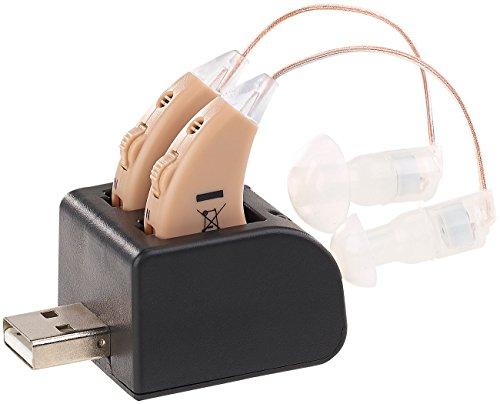 newgen medicals Hörhilfe: HdO-Hörverstärker-Paar HV-340 mit Ex-Hörer, Akku & USB-Ladeschale (Hörhilfe für Senioren)
