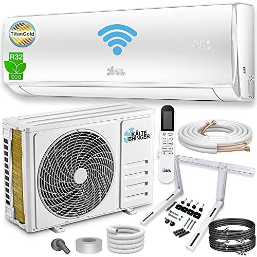 Kältebringer Split Klimaanlage Set - Splitgerät mit WIFI/App, Smart Home - bis 55 qm - 12000 BTU, 3,4 kW - A++ Kühlen/A+ Heizen - Kältemittel R32 (3,4 kW, mit Wandhalterung)