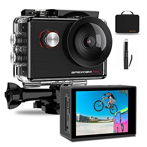 Apexcam Pro Action Cam 4K 20MP Sportkamera WiFi Unterwasserkamera 2.4G Fernbedienung Wasserdicht 40m 2.0 Zoll LCD Bildschirm 170 ° Weitwinkel mit Zwei 1200mAh Batterien externes Mikrofon
