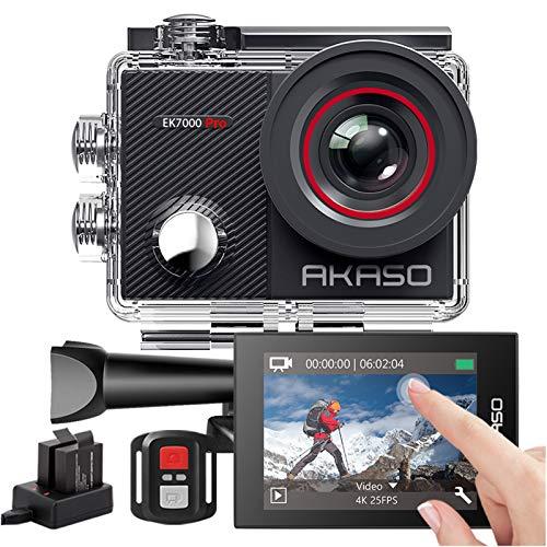 AKASO Action Cam 4K 20MP WiFi 40M Unterwasserkamera Wasserdicht Ultra HD Touchscreen Einstellbar Weitwinkel EIS Actioncam mit 2.4G Fernbedienung und 25 Zubehör Kit - EK7000 Pro