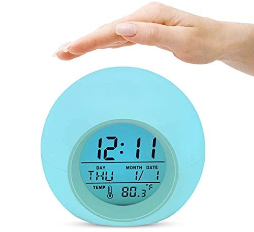 Digitaler Kinderwecker, 7 Farben ändern Lichtwecker für Jungen Mädchen, Schlummerfunktion, 8 Klingeltöne, 12/24 Stunden, One-Tap-Control, Innentemperaturanzeige (Hellblau)