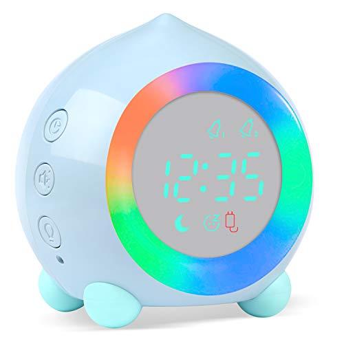 Kinderwecker Digitaler, Wecker Digital Sonnenaufgangssimulator Kinderwecker für Mädchen Jungen mit Bunte Lichter Leiser Wecker Ohne Ticken Schlafzimmer mit LED-Wecklicht & Nachtlichtlampe (Blau)