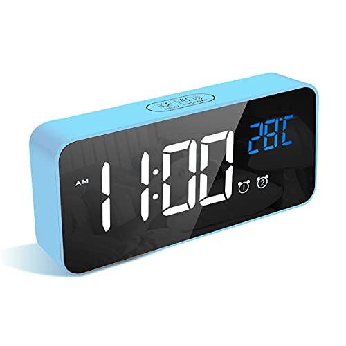 LATEC Digitaler Wecker mit Große LED Temperaturanzeige, Tischuhr mit 13 Musik, USB Ladeanschluss, 4 Helligkeit und Lautstärke Regelbar, Snooze, tragbarer Spiegelalarm mit 2 Alarmen, 12/24HR (Blau)