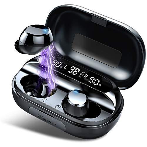 Tiksounds Kopfhörer Kabellos, In Ear Bluetooth 5.1 Kopfhörer mit Mic, 150H Spielzeit mit LED Anzeige Ladebox, IPX7 Wasserdicht, Sport Ohrhörer für Reisen, Arbeit