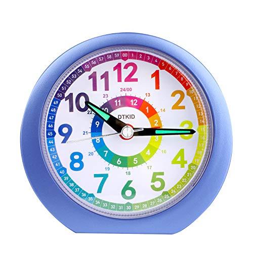 DTKID Wecker,Analoger Wecker Kinder, Kompakt Nicht Tickendes Bett Reise Silent Wecker mit Lautem Alarm, Nachtlicht, Snooze, Batteriebetriebene Weckuhr (Blau 804)